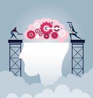 Brainstorming businessman creates idea vector