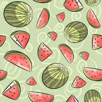 Pink and green watermelon seamless pattern. vector
