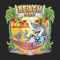 tiburón en el vector de arte de fiesta de playa de verano