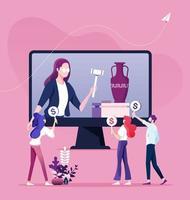 pujar subasta y comprar concepto online vector