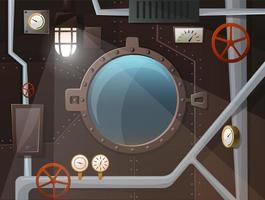 Interior submarino con ojo de buey, caños, manómetros, palancas, lámpara, muro de hierro con tachuelas. ver dos el océano. estilo de dibujos animados, vector
