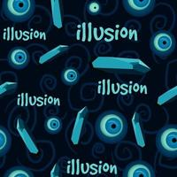 Turkish eye and precious stones seamless pattern on a blue background. vector