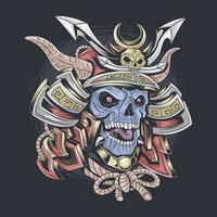 samurai skull wearing samurai helmet vector
