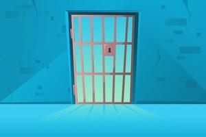 puerta de rejilla en estilo de dibujos animados. corredor. pasillo interior de celda de prisión con celosía. sala de la cárcel. vector de dibujos animados