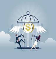 Establecer dinero gratis - ilustración de vector de concepto de negocio de inversión