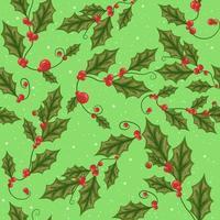 rama de muérdago con hojas verdes de patrones sin fisuras. vector