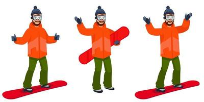 Snowboarder in different poses. vector