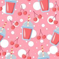Pattern of summer drink and pink fruits. vector