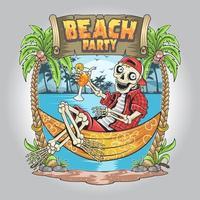 skull summer beach coconut tree artwork vector