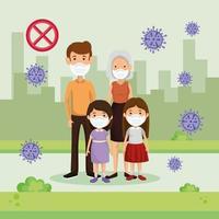 familia usando mascarilla con paisaje urbano y partículas covid 19