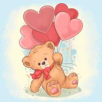 Teddy Bear holds a balloon that is shaped like a love heart. This vector uses a watercolor painting style