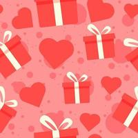 Gift boxes and red hearts seamless pattern.