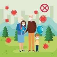 grandparents with grandchildren using face mask in landscape vector