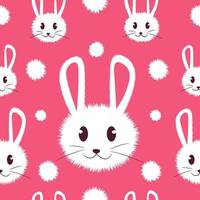 White and cute furry bunny seamless pattern. vector
