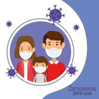 parents with son using face mask and particles 2019 ncov vector