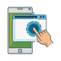 hand using searching covid 19 online in smartphone vector