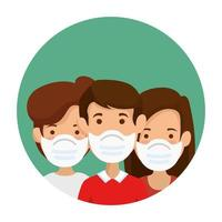 group people using face mask in frame circular