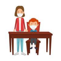 Madre con hijo con mascarilla en mesa de madera vector