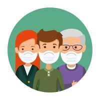 members family using face mask in frame circular vector