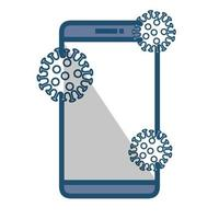 searching covid 19 online in smartphone vector