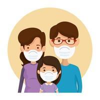 padres con hija usando mascarilla en marco circular vector