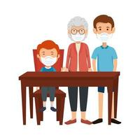 cute family members using face mask in wooden table vector