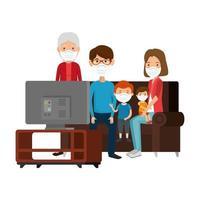 cute family members using face mask watching tv vector