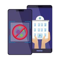 smartphones with stop covid 19 and hospital facade vector