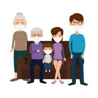 cute family using face mask watching tv vector