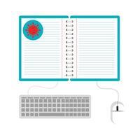 educación en línea por covid 19 icono aislado vector