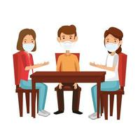 group people using face mask in wooden table