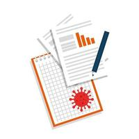 documents with particle covid 19 isolated icon vector