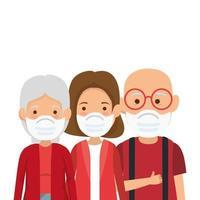 cute family members using face mask vector