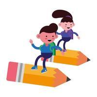 pequeños estudiantes volando en lápices vector