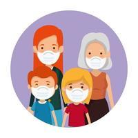 Lindos miembros de la familia con mascarilla en marco circular vector