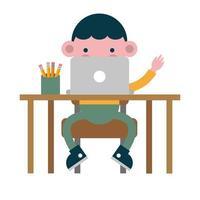 little student boy at desk using laptop vector
