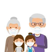 grandparents with granddaughters using face mask vector
