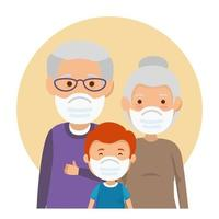 grandparents couple with grandchild using face mask vector