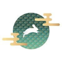 mid autumn festival with waves in circular frame and rabbit vector