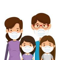parents with daughters using face mask vector