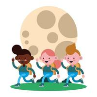 pequeños estudiantes caminando con la luna vector