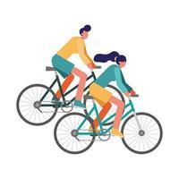young couple riding bikes vector