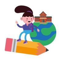 niña estudiante volando en lápiz a la escuela en el planeta vector
