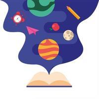 Aprendizaje de libros de texto con espacio y elementos escolares. vector