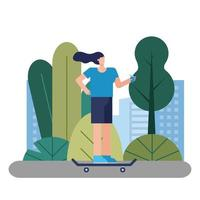 young woman on skateboard vector