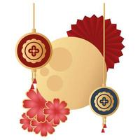 mid autumn festival moon icon vector