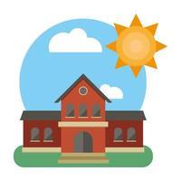 school building front facade with sun