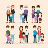 set scenes of families using face mask vector
