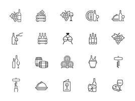 minimal wine line icon set vector