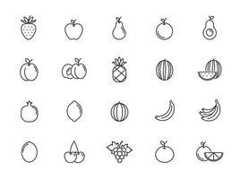 minimal fruit line icon set vector